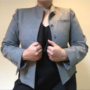 Saks Fifth Avenue lined short gray wool coat